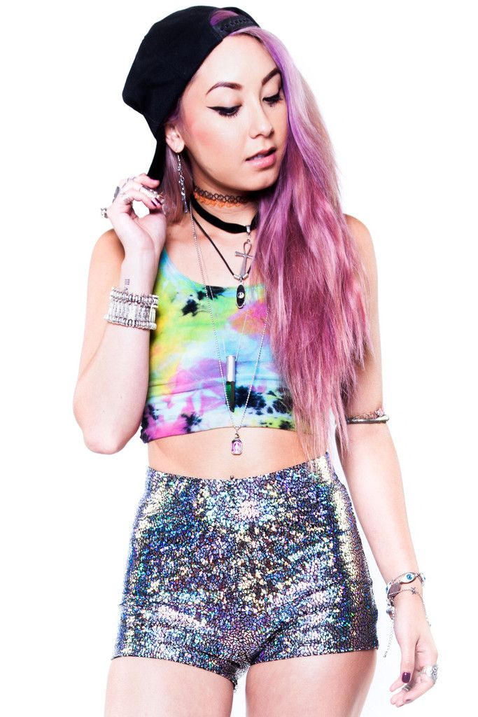 Rainbow Prism Holographic Shorts