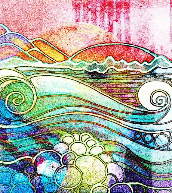 aquarelle + ink  zentangle art ocean | warmth and movement and tranquility. i want someone to be able to sit and look at this with me, and dream about the places we could go in this ocean, to see the sunrise.