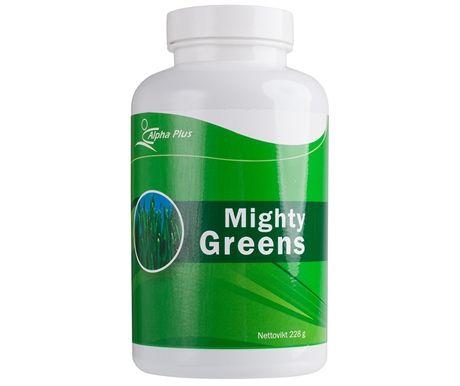 Mighty Greens är en näringsrik dryck som innehåller naturliga koncentrat av födoämnen från land och sjöar. Gör Mighty Greens till en god morgonvana och få en riktig energikick! Hitta din egen favoritdrink genom att prova kombinationer av olika juicer, frukter och bär. Varje matsked Mighty Greens motsvarar näringen i fyra portioner sallad! Mighty Greens innehåller en mängd olika växtämnen som är utvalda för sina positiva hälsoegenskaper. Chlorella, spirulina, bipollen, vetegräs, korngräs m m.