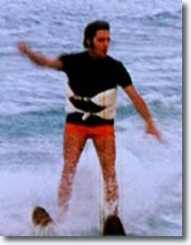 Elvis Presley  skiing, surfing, boating, preparing for scuba diving, on holiday - having fun