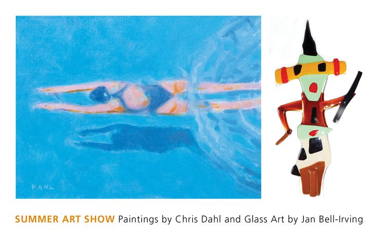 SUMMER ART SHOW Paintings by Chris Dahl. Glass Art by Jan Bell-Irving. Presented by The Gallery at Qualicum Art Supply. 206 First Avenue West, Qualicum Beach BC V9K 2P7  t: 250.752.3471  e: qacs@shaw.ca  qbgalleryonfirst.com  Pictured:  Sous las surface – Palm Springs. Oil on canvas by Chris Dahl. Garden God – Hosta Protector. Glass garden stake by Jan Bell-Irving