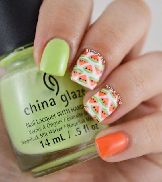 Adorable watermelon  manicure by @naailsbyjulia using our Fan Nail Stencils found at snailvinyls.com
