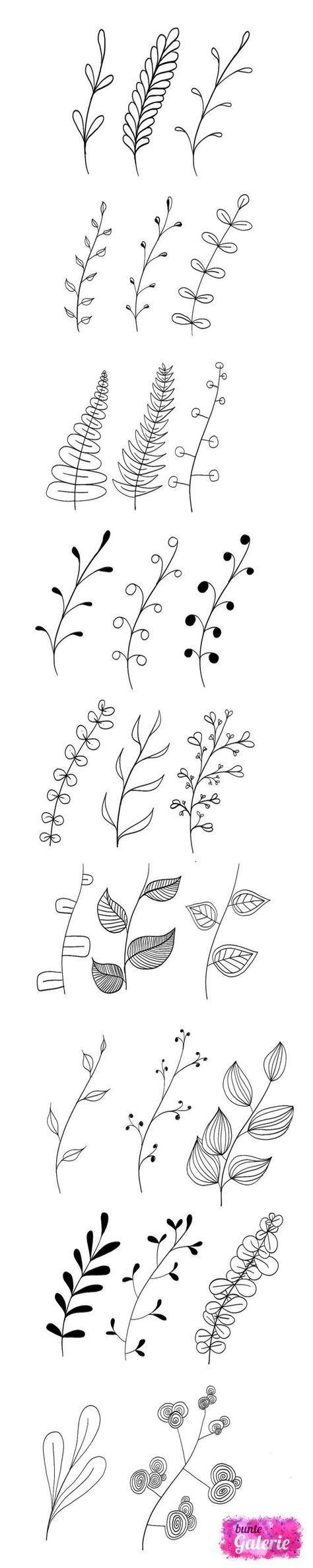 Hand zeichnen florale Elemente | Perfekt für Bullet Journals und Planer Kritzeleien | Ideen für Skizzenbücher