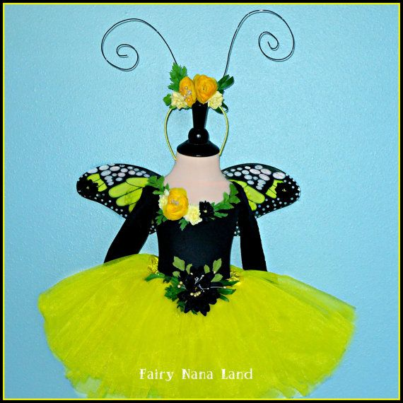 Yellow Monarch Butterfly Faire - Fairy Princess costume for childrens sizes 2 through 4