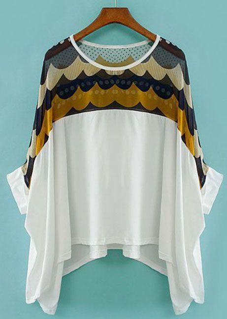 White Batwing Sleeve Polka Dot Chiffon T-Shirt