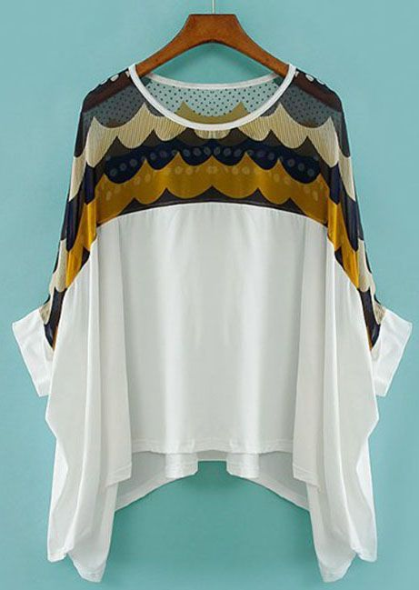 White Batwing Sleeve Polka Dot Chiffon T-Shirt - this is really different.