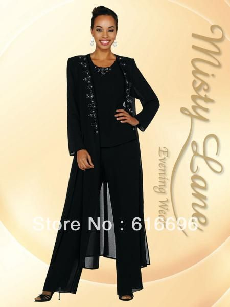 Free Shipping Custom Made Black Chiffon Long Sleeves Mother Of The Bride Pant Suits Wedding