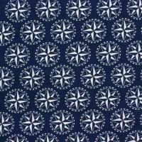Quiltstof: Blauw met witte windroos