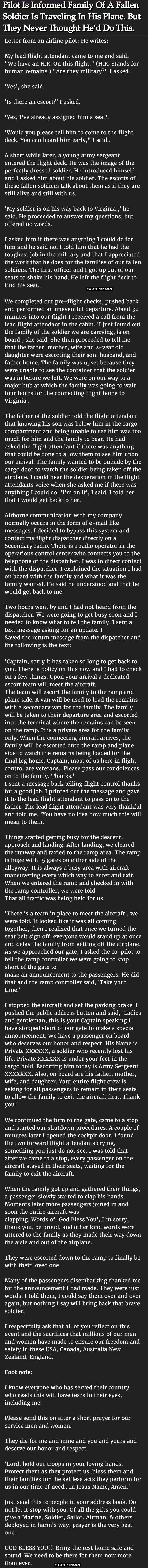 Pilot Is Informed Family Of A Fallen Soldier Is Traveling In His Plane But They Never Thought He'd Do This. family military people amazing story interesting facts stories heart warming good people
