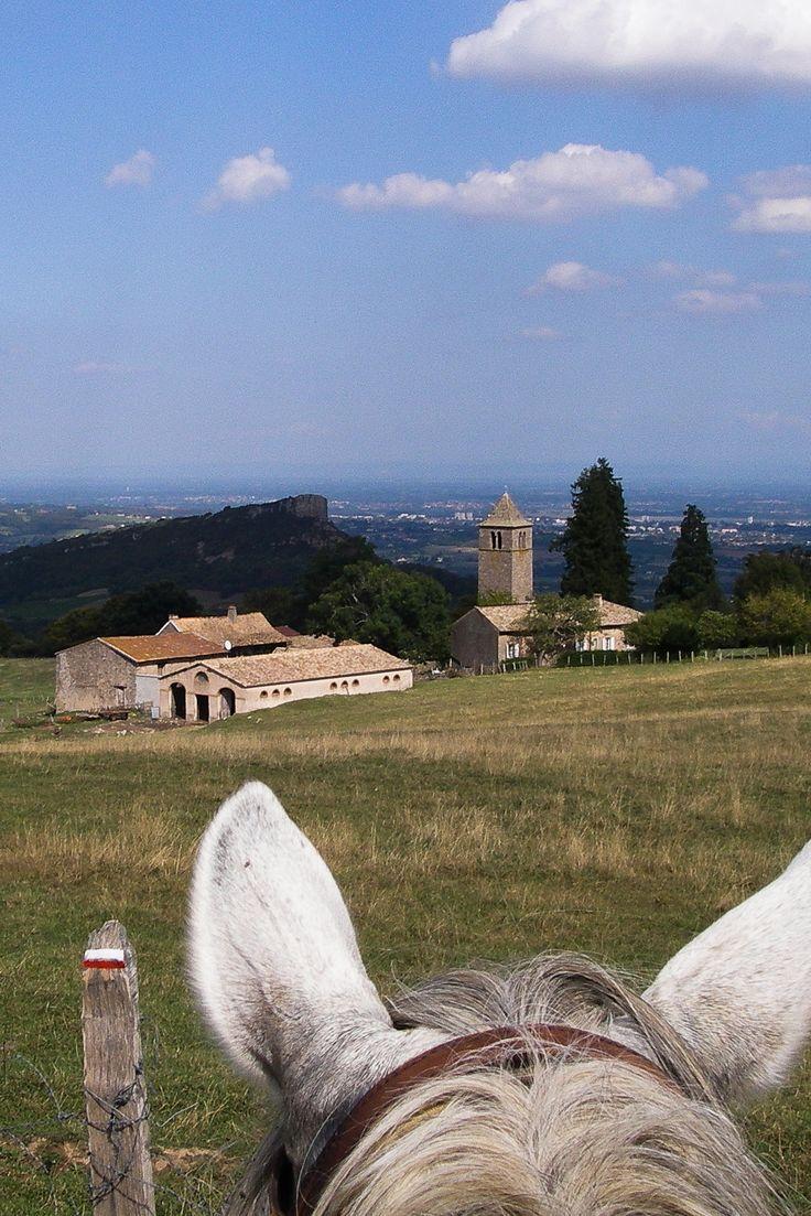 A cheval près de la Roche de Solutré #bourgogne #chevaldaventure