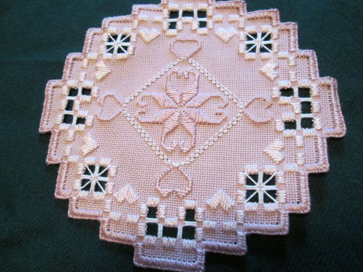 Hardanger Doily Norwegian Embroidery Dusty Rose with Rose - White Hand Made