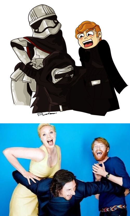 "The true face of evil: when your squad is ""destroying the new republic like"". Star Wars: The Force Awakens - Captain Phasma, Kylo Ren, and General Hux drawn in the same pose as their actors (Gwendoline Christie, Adam Driver, and Domhnall Gleeson)"