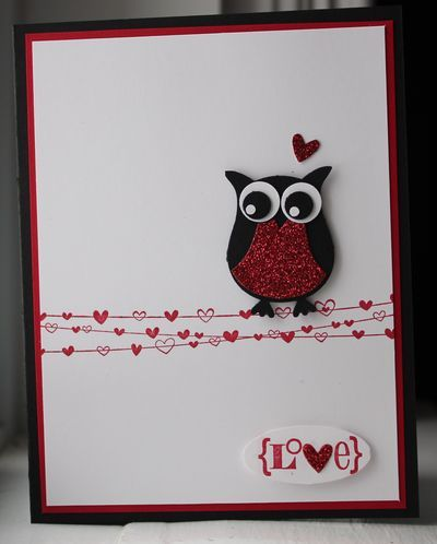 cute owl card inspiration - might stick punched 3D hearts and add thread on mine