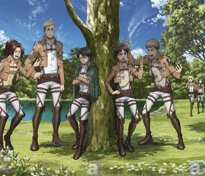 Attack on Titan ~~ Gee, is it a picnic? If so, who is doing the cooking? :: Hanji, Erwin, Levi, Eren, Jean, Mikasa, Armin
