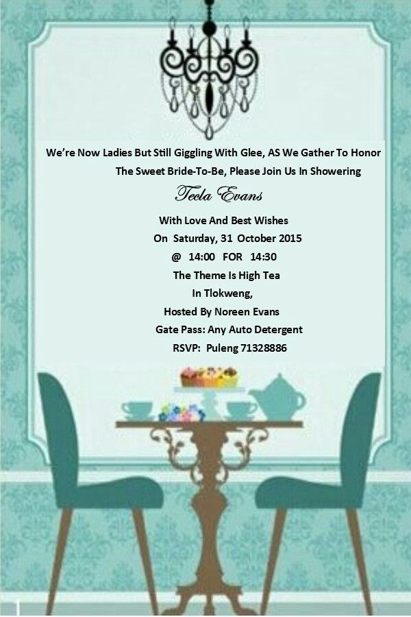 High Tea Bridal Shower Invite