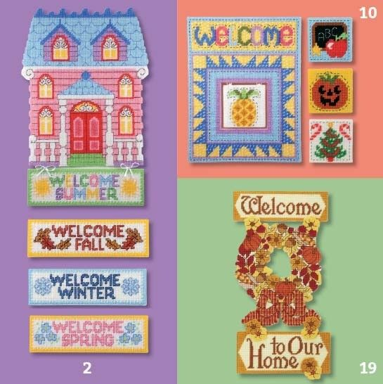 Welcome the Seasons PC Herrschners - Welcome the Seasons presents fun plastic canvas door or wall signs featuring interchangeable accents for all year. A charming Victorian house comes with add-on banners that welcome each season. A welcoming quilt-block sign has a spot in the center for placing seasonal and holiday motifs such as a valentine, shamrock, school slate, and jack-o'-lantern. For fall, a design with vibrant floral and harvest motifs welcomes guests into your home. All pieces are…
