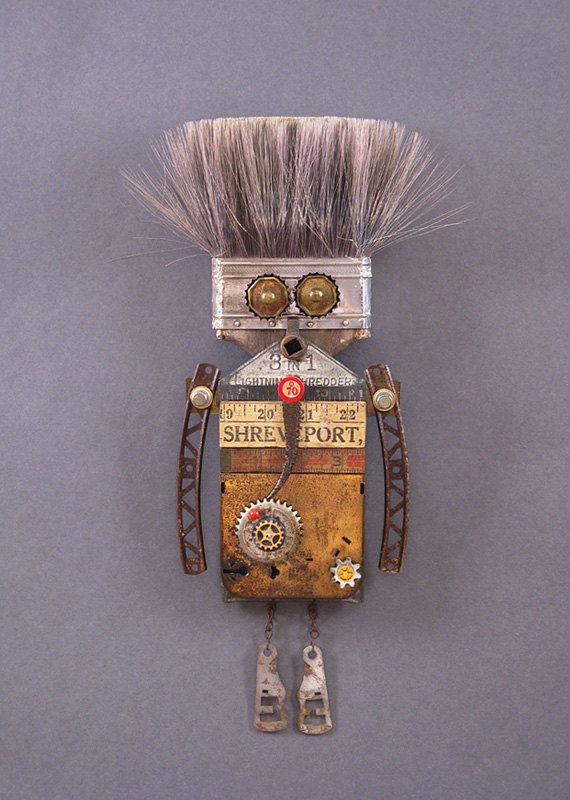 ROBOT SCULPTURE Metal art sculpture Junk von CastOfCharacters23. Love the paintbrush hair!