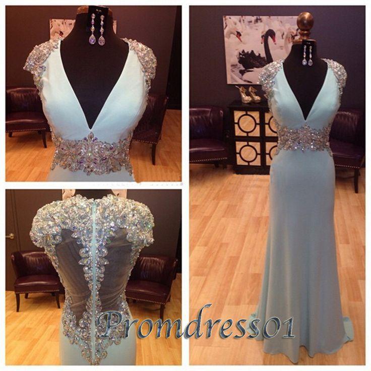Prom 2015, v-neck cap sleeve light blue long prom dress for teens, ball gown, evening dress sweetheartdress.s...