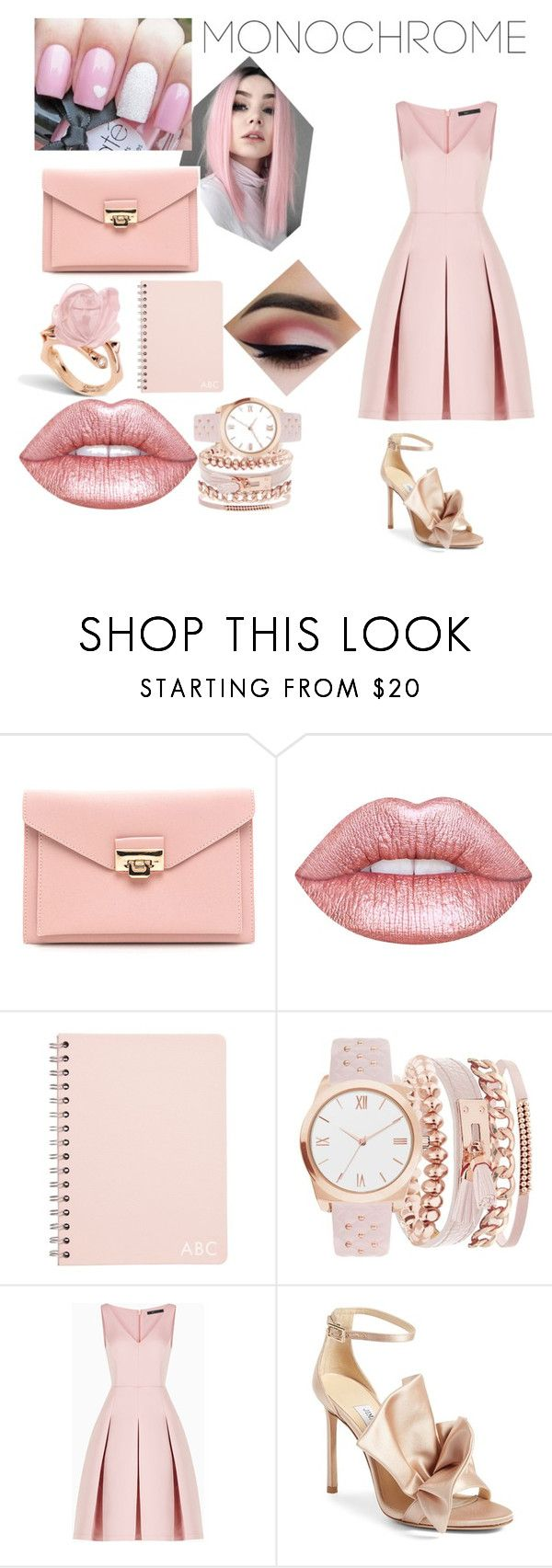 """""""Rose Pink"""" by musicaltheater ❤ liked on Polyvore featuring Lime Crime, A.X.N.Y., BCBGMAXAZRIA and Jimmy Choo"""