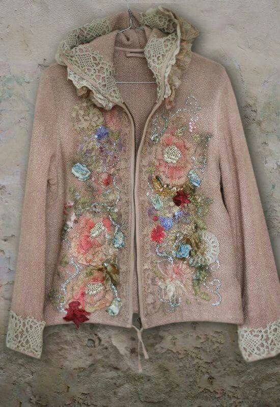 Embellished woolen sweater with lace and flowers