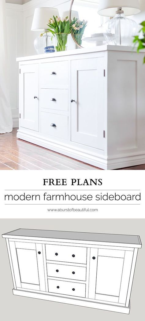 Building a modern farmhouse sideboard buffet is easy with these free plans.