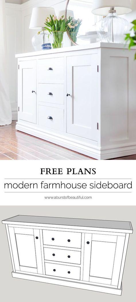 Simple Modern Farmhouse Sideboard Buffet Kitchen Buffetsideboard Buffetkitchen Sideboardwhite