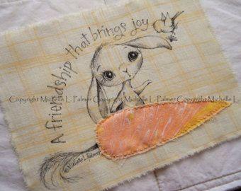 GRANDE originale penna inchiostro su tessuto illustrazione Quilt etichetta Applique da Michelle Palmer primavera giardino carota Sparrow Uccello amicizia gioia