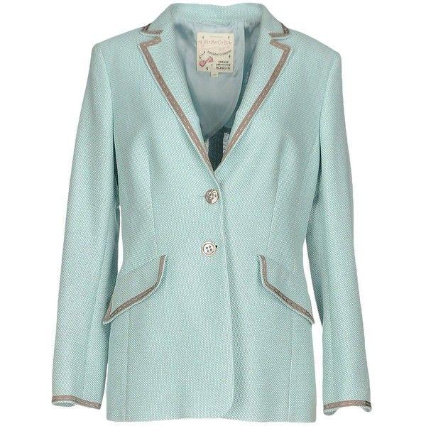 Maison Common Blazer (14 480 UAH) ❤ liked on Polyvore featuring outerwear, jackets, blazers, turquoise, blazer jacket, jacquard blazer, two button blazer, long sleeve jacket and green blazer jacket