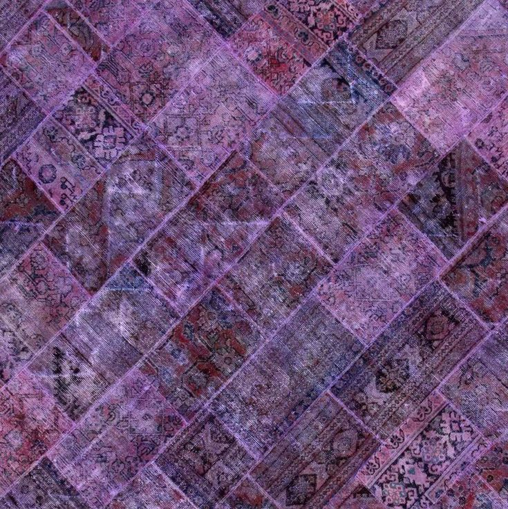 Pak Patchwork Overdyed Hand-Knotted Wool Purple Area Rug