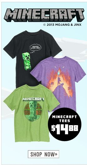 My kids would love these minecraft t-shirts. Love that they have both boy and girl versions.