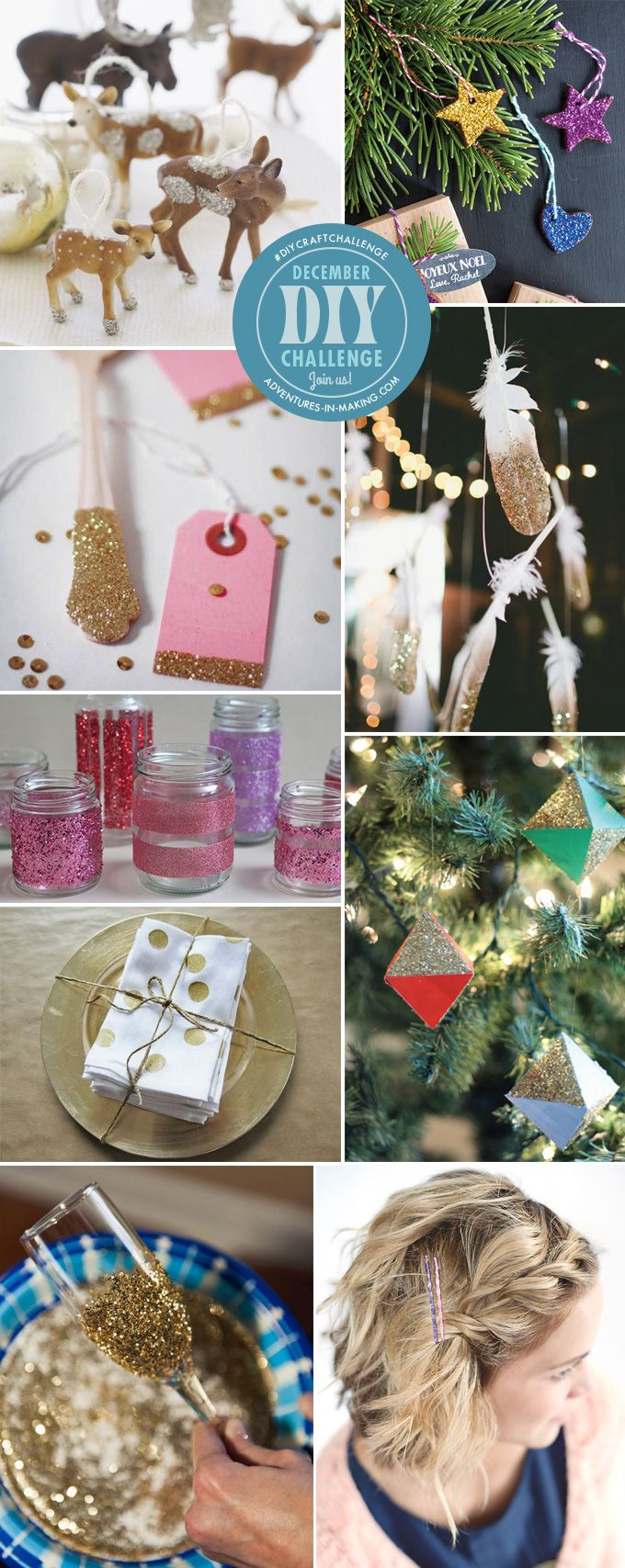 Join us for our December DIY CHALLENGE: The theme is Glitter! | http://adventures-in-making.com/diy-challenge-december-glitter/ #diycraftchallenge #glitter #craft