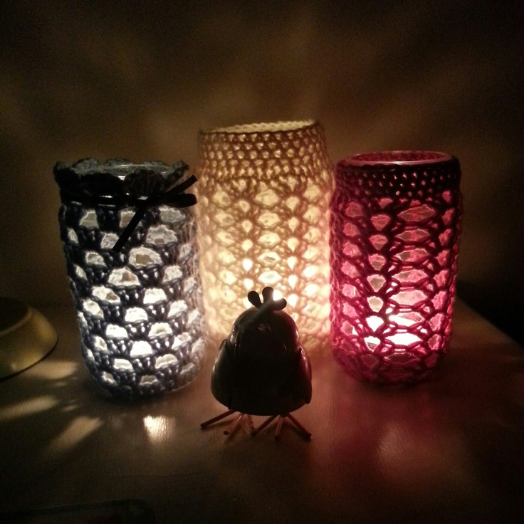 Crochet Patterns Jar Covers : meanyjar: Crochet granny jar cover Crochet Containers Pinterest