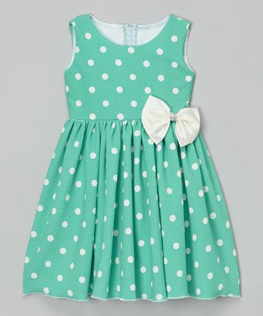 Look what I found on #zulily! Teal Polka Dot Bow Swing Dress - Infant, Toddler & Girls #zulilyfinds