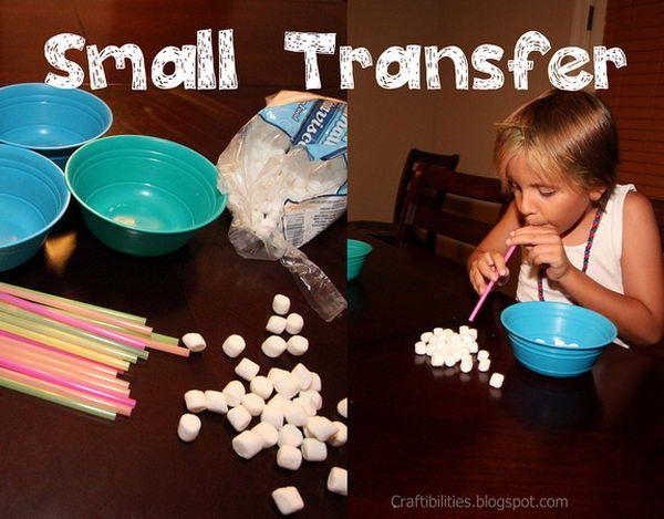 "Small Transfer - Use straws to suck up the air to pick up mini marshmallows and transfer them to a bowl. ""Minute to Win It"" Party Games, http://hative.com/minute-to-win-it-party-games/,"