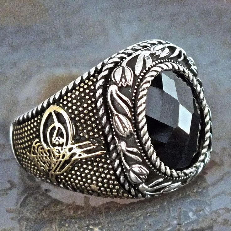 925 Sterling Silver Mens ring Ottoman Design Black Onyx unique artisan jewelry #KaraJewels #OttomanTurkish