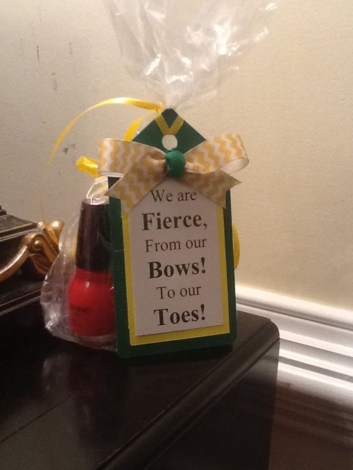 Cheerleader competition treat bags.