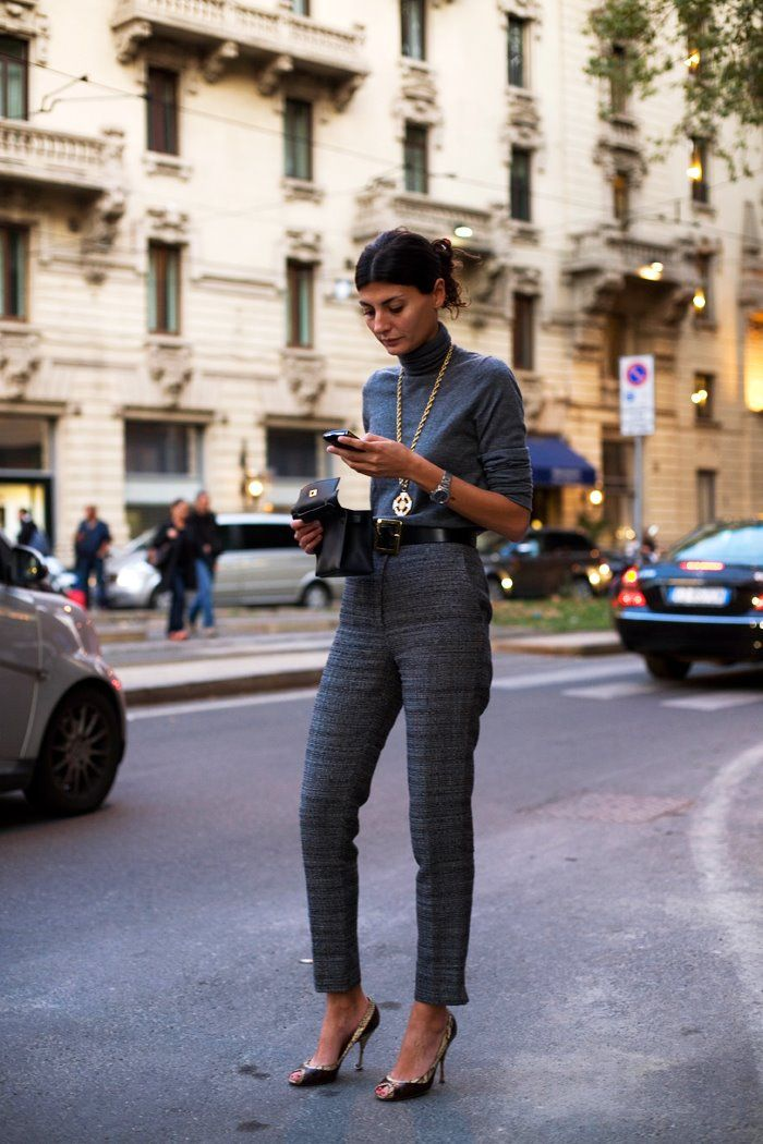 Best Dressed: Yang Classic - Giovanna Battiglia has amazing pants!Grey,  Milan « The Sartorialist
