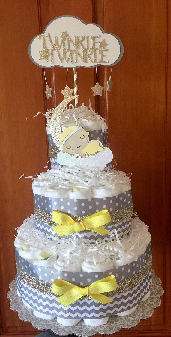 Twinkle Twinkle Little Star Diaper Cake Front Side With Images
