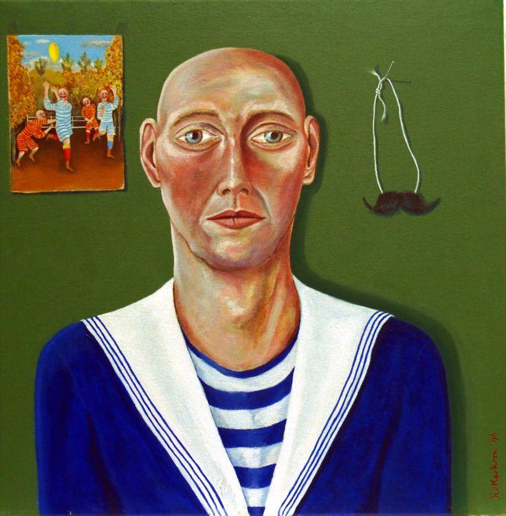 La Moustache - oil on canvas - 50x50cm - ©Henk van Merkom - 1996