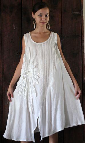 Peacock Ways Y021 Artisan Lagenlook Flower Tunic Dress XL White Cream | eBay