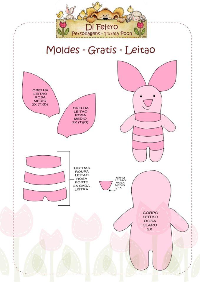 Molde Leitão, da turma do Ursinho Pooh em feltro.