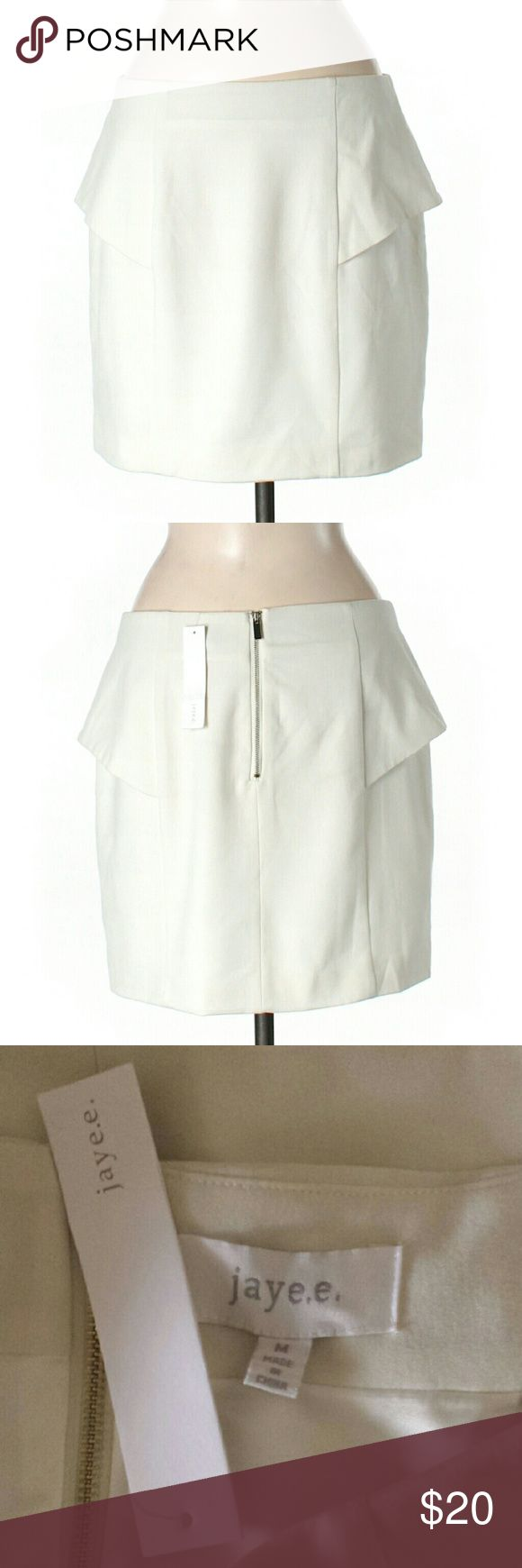 NWT Jaye E. Ivory Work Skirt Size M  Length 17in  Pencil silhouette with cute peplum detail  Retail $45       DRY CLEAN ONLY   #NWT #jayee #ivory #offwhite #skirt #work #workattire #casualskirt #spring #summer #workskirt #peplum #peplumskirt #pencil #fancy                             M3 Jaye E.  Skirts Pencil
