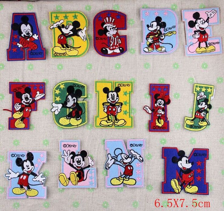 iron on Letters 26 alphabet Minnie mickey  mouse embroidery Patches iron on patches  sew on patch Appliques  Free shipping-in Patches from A...