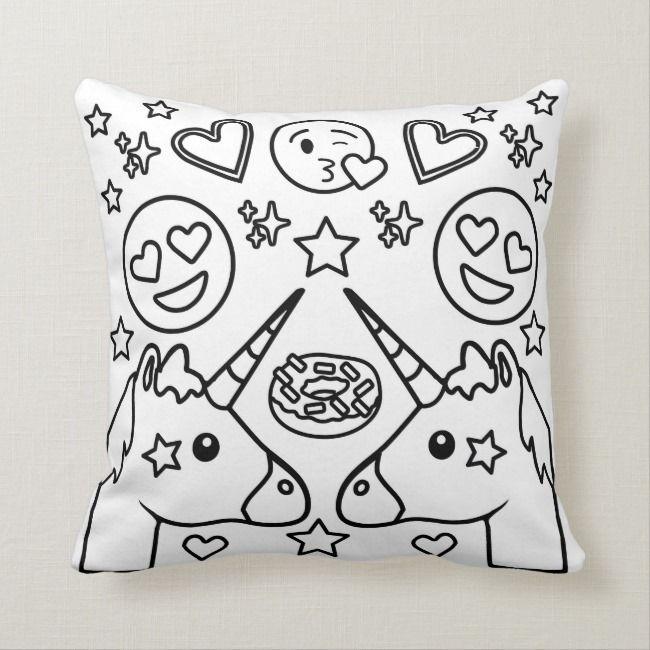 Coloring Book Unicorn Emoji Pillow Zazzle Com Unicorn Coloring Pages Emoji Pillows Emoji Coloring Pages