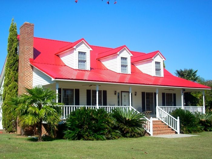 Red roof black shutters curb appeal pinterest for Metal roof houses pictures