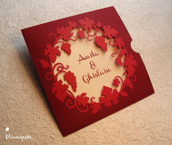 faire-part de mariage en papier découpé - motif vigne