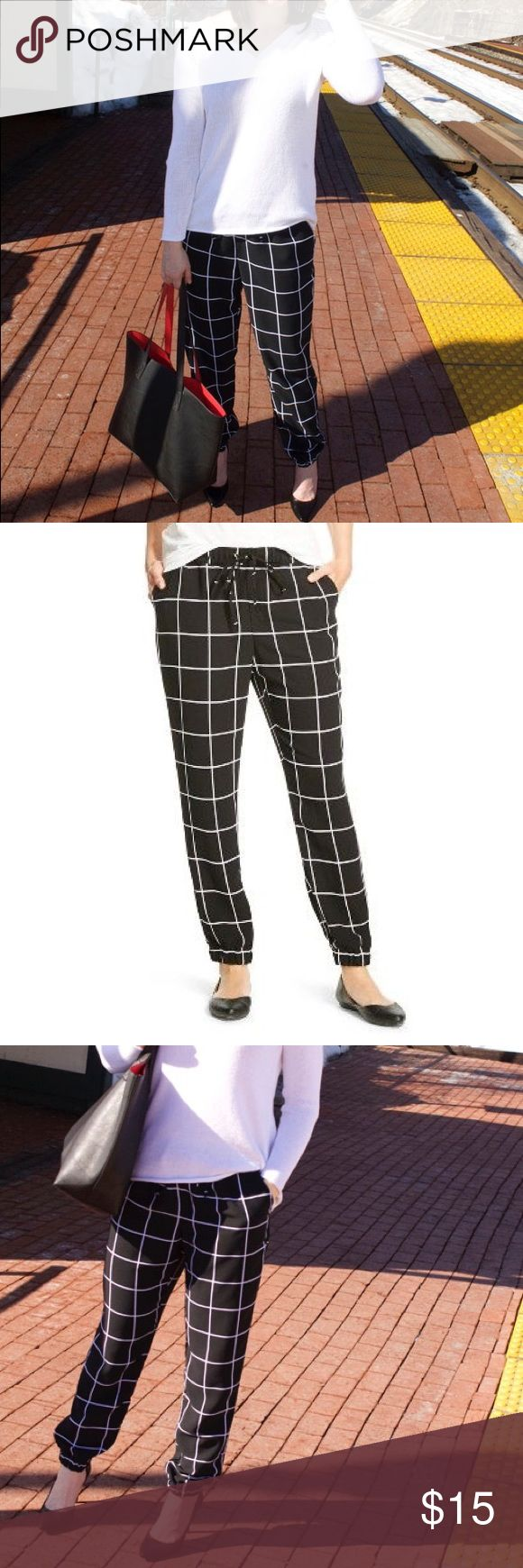 Black and white jogger pants Size medium windowpane joggers. Pants