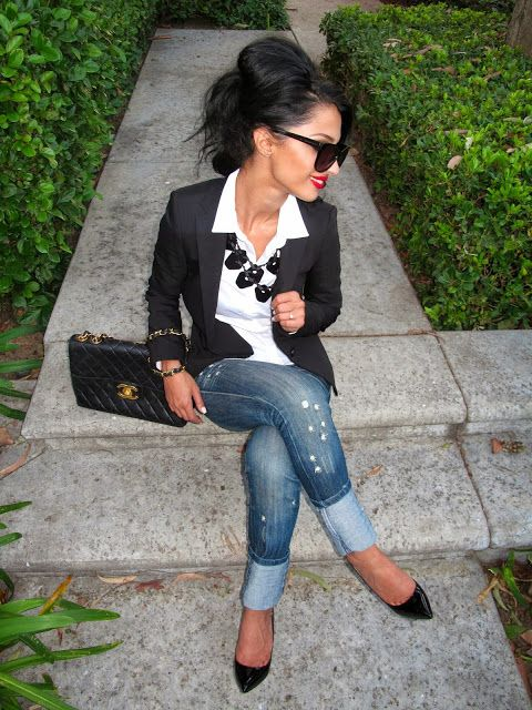 casual/jean Friday work outfit....Classic : white button up, black blazer, jeans, and statement necklace