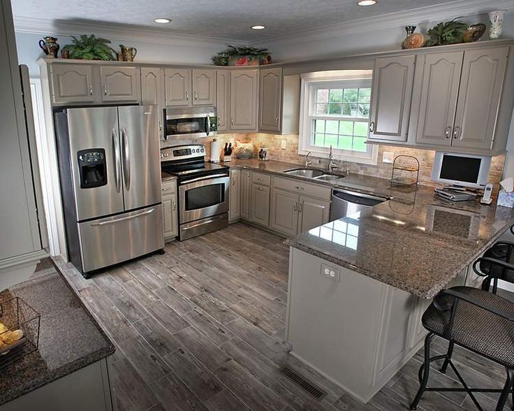 Awesome Remodel Ideas For Small Kitchen Part - 2: Kitchen, Small Kitchen With Peninsula And Recessed Lighting Over Kitchen  Cabinets: 20 Best Small Kitchen Designs. Gray/brown Flooring And Stainless  ...
