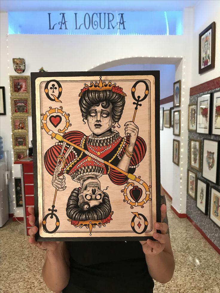 Acuarela en madera por cristopher Méndez #watercolor Queen póker